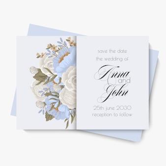 꽃 결혼식 템플릿-하늘색 꽃