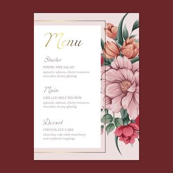 Цветочное свадебное меню шаблона