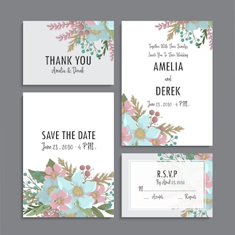 Floral wedding template - mint and green floral cards