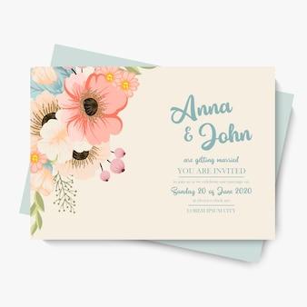 Floral wedding template  pastel flowers