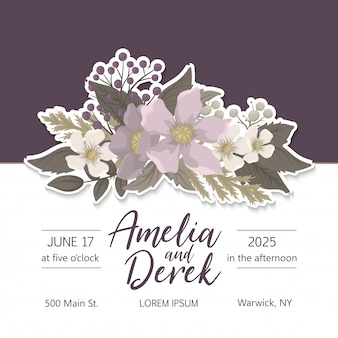 Floral wedding template  pink floral card