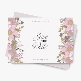꽃 결혼식 템플릿-핑크 꽃 카드