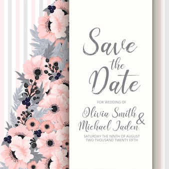 Floral wedding template - pink floral card