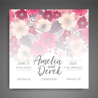 Цветочный свадебный шаблон - розовая цветочная открытка