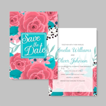 花の結婚式テンプレートピンク花カードセット