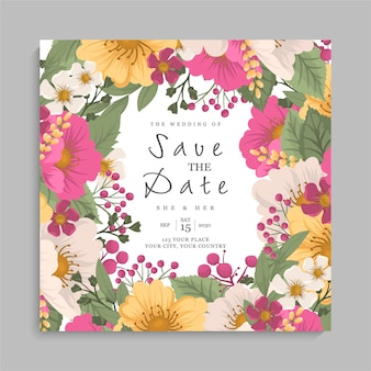 Floral wedding template - pink floral wreath