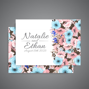 Floral wedding template  pink and light blue flowers