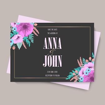 Цветочный свадебный шаблон - фиолетовая цветочная открытка
