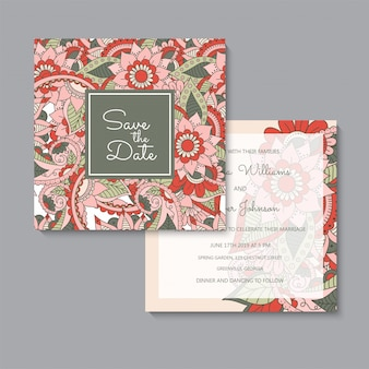 Floral wedding template  red floral cards set