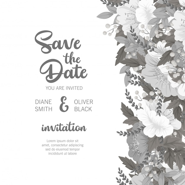 Floral wedding template  white and black floral card