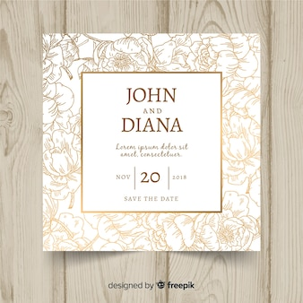 Floral wedding template with golden elements