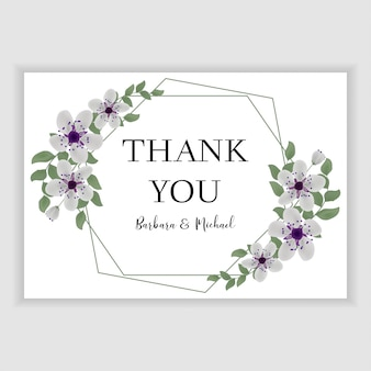 Floral wedding thank you card with purple cherry blossom
