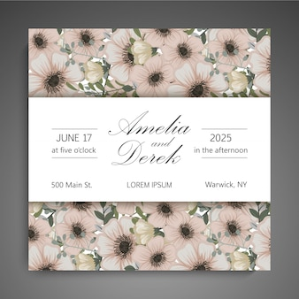 Floral wedding vector template