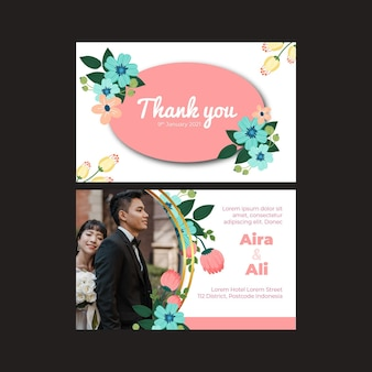 꽃 결혼식 세로 카드 서식 파일