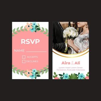 Цветочная свадебная вертикальная открытка