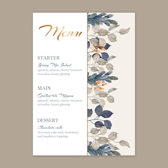Floral wedding vertical menu template