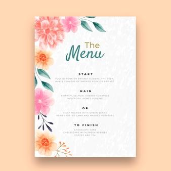 Цветочный свадебный шаблон вертикального меню