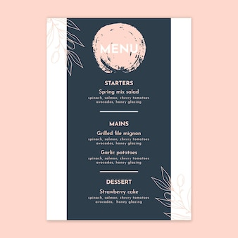 Floral wedding vertical menu template