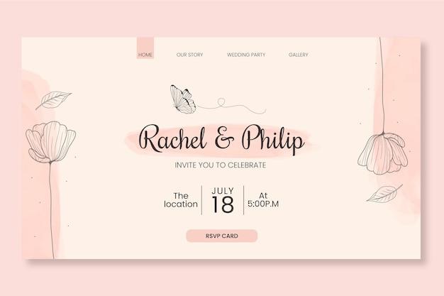 花の結婚式のウェブテンプレート
