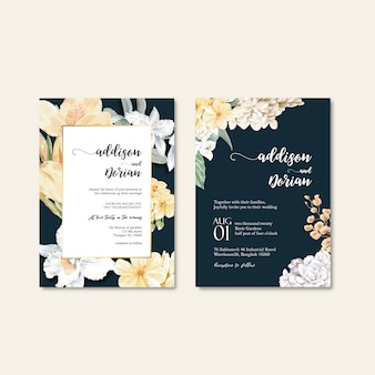 Floral weeding card set