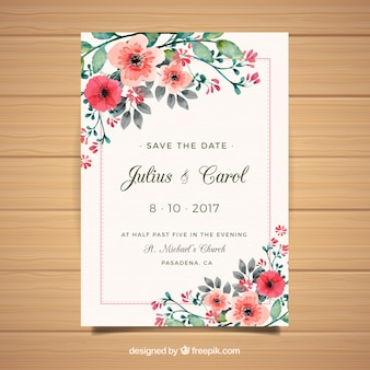 Floral weeding invitation card