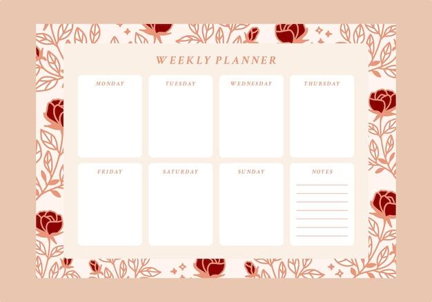 花のウィークリープランナーとやることリストのエンプレート