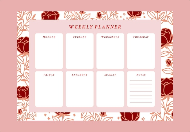 Floral weekly planner and to do list emplate