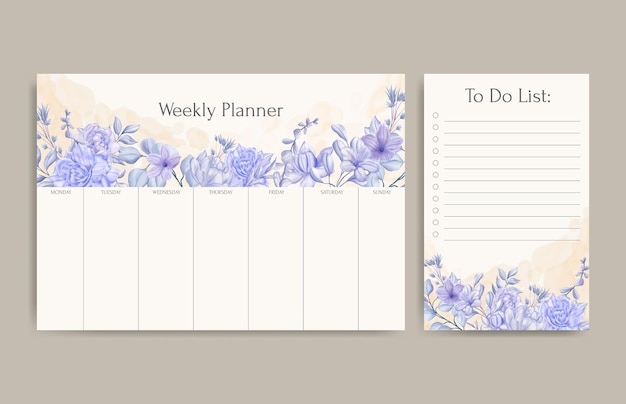 Floral weekly planner and to do list template