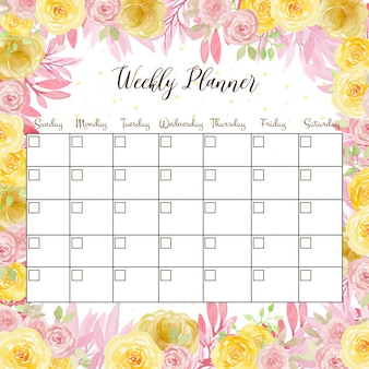 Floral weekly planner with cute watercolor pink and yellow roses