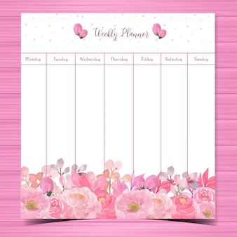 Floral weekly planner with gorgeous pink roses