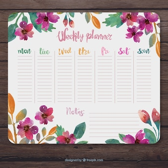 Floral weekly planner with watercolors