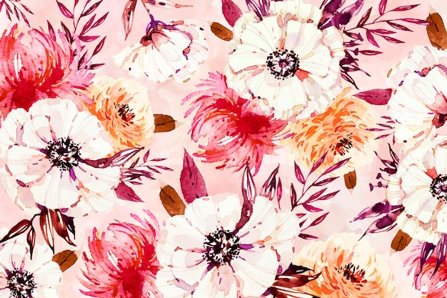 Floral white petals on watercolour background