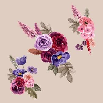 プティロトゥスの花、バラの水彩イラストと花のワインの花束。
