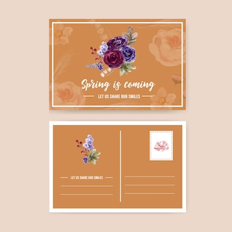 Floral wine postcard with rose, peony, anemone watercolor illustration.
