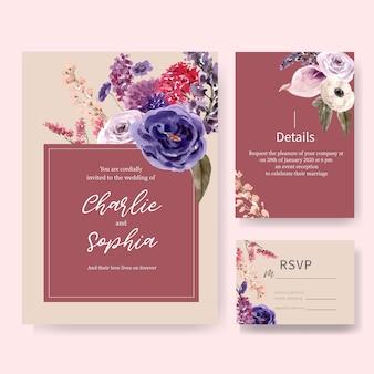 トルコギキョウ、バラの水彩イラストと花のワインのウェディングカード