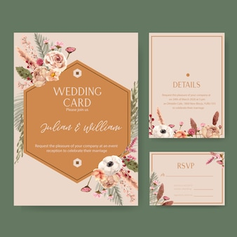 Floral wine wedding card with rowan, chrysanthemum, statice watercolor illustration