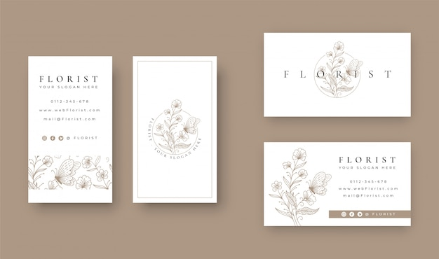 Floral with butterfly minimal logo design with business card