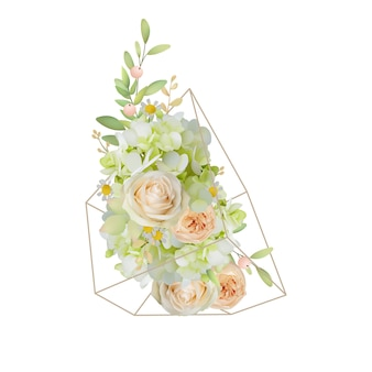 Floral with garden roses and hydrangea in terrarium