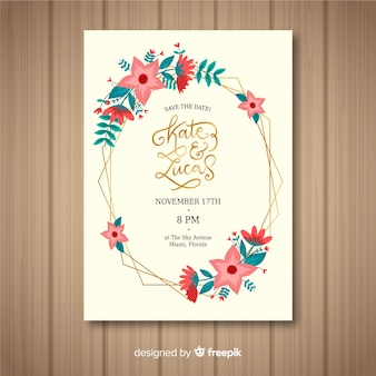Floral with golden frame wedding card template