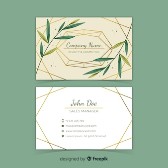 Floral with golden lines business card template