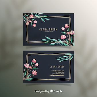 Floral with golden lines business card