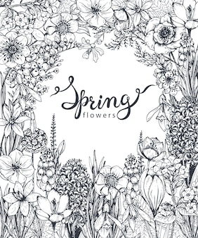Floral with hand drawn spring flowers and plants and hand lettering. monochrome