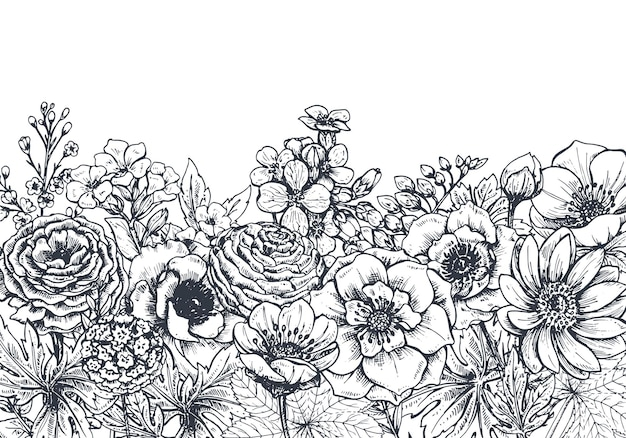 Floral with hand drawn spring flowers and plants. monochrome