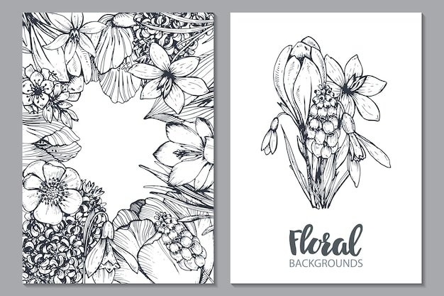 Floral with hand drawn spring flowers and plants in sketch style.. monochrome