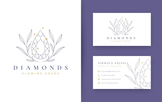 Floral with jewelry minimal logo design with business card