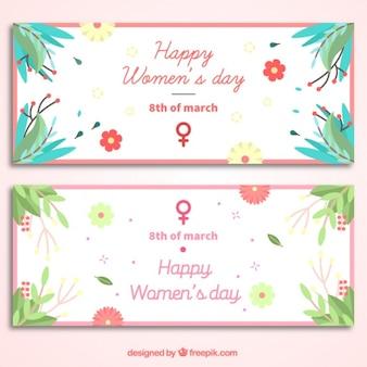 Bandiere di giorno delle donne floreali in design piatto