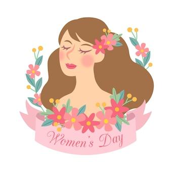 手描きの花の女性の日