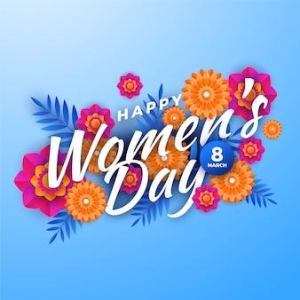 紙のスタイルで花の女性の日