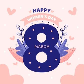 ピンクの背景に花の女性の日レタリング