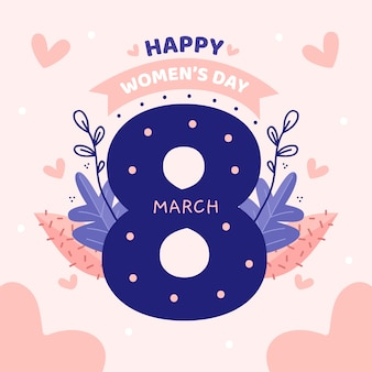 Floral women's day lettering on pink background